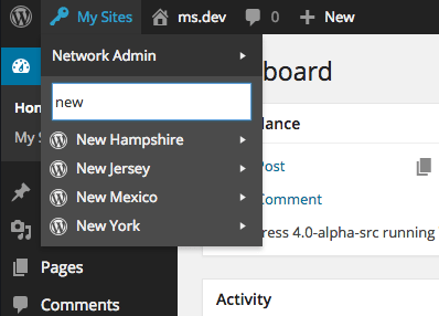 "WordPress Multisite Tip: Add a Search Bar to the ""My Sites"" Menu"