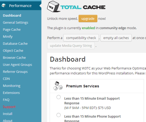 Configuring W3 Total Cache: General Settings I