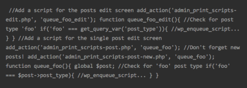 Easy, conditional JavaScript for WordPress admin pages