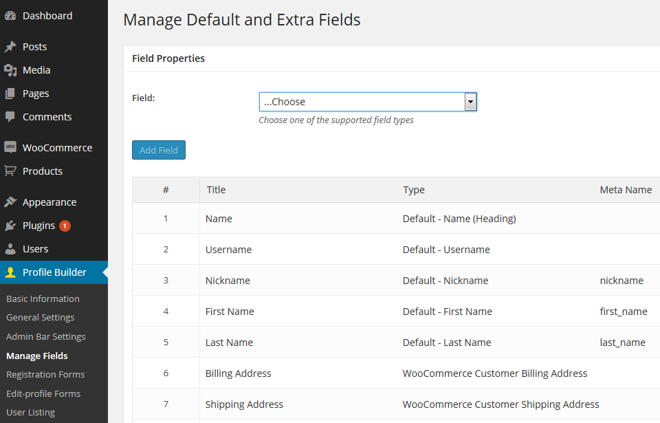 Manage WooCommerce Customer Fields with Profile Builder