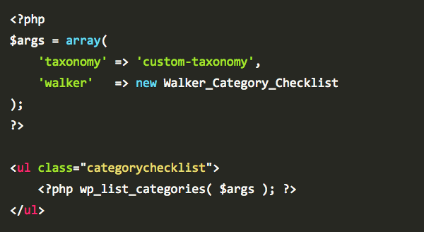 Display A Category Checklist In WordPress