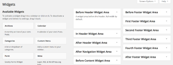 Dynamically Adding Four Footer Widget Areas