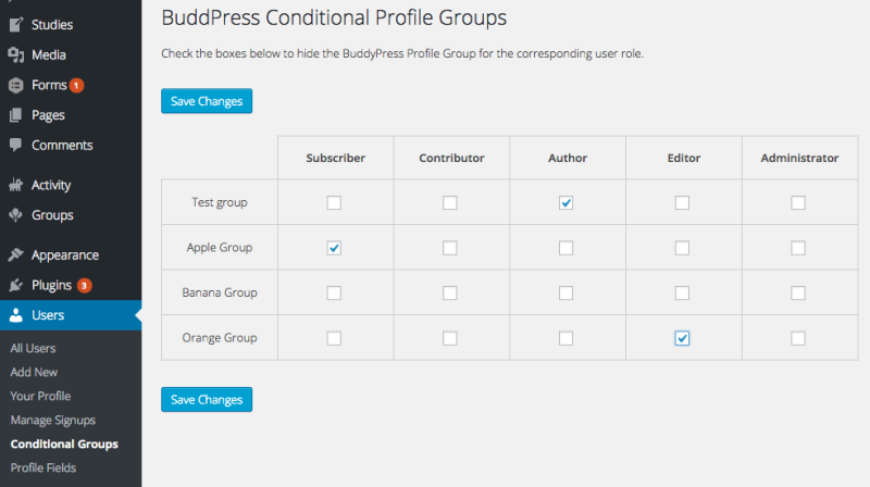 Conditionally Hide BuddyPress Profile Field Groups Based on User Role