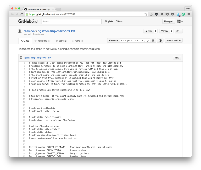 Running Nginx on OS X for WordPress Development