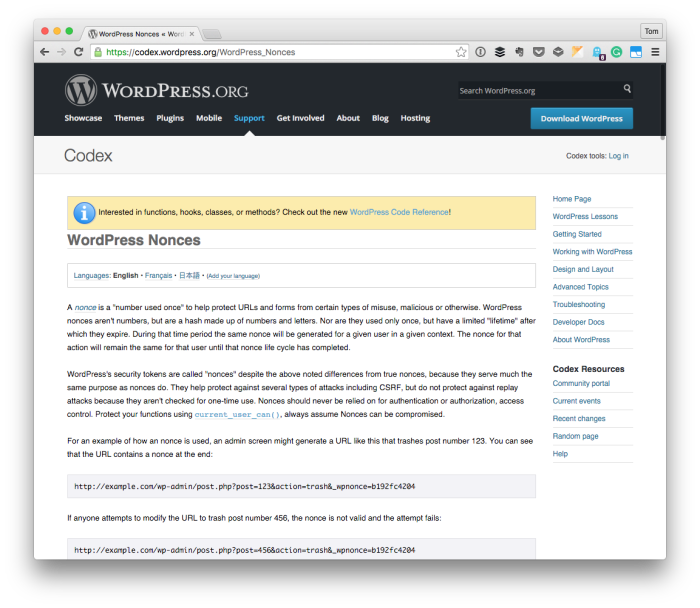 WordPress Security with Nonce Values