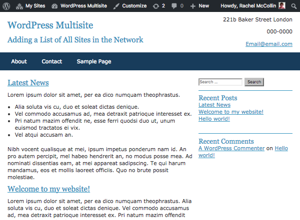 How to Add a List of Sites in a Multisite Network to Each Subsite