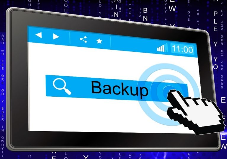 Clicking on backup on handheld device