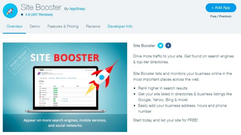 Wix Site Booster App Features