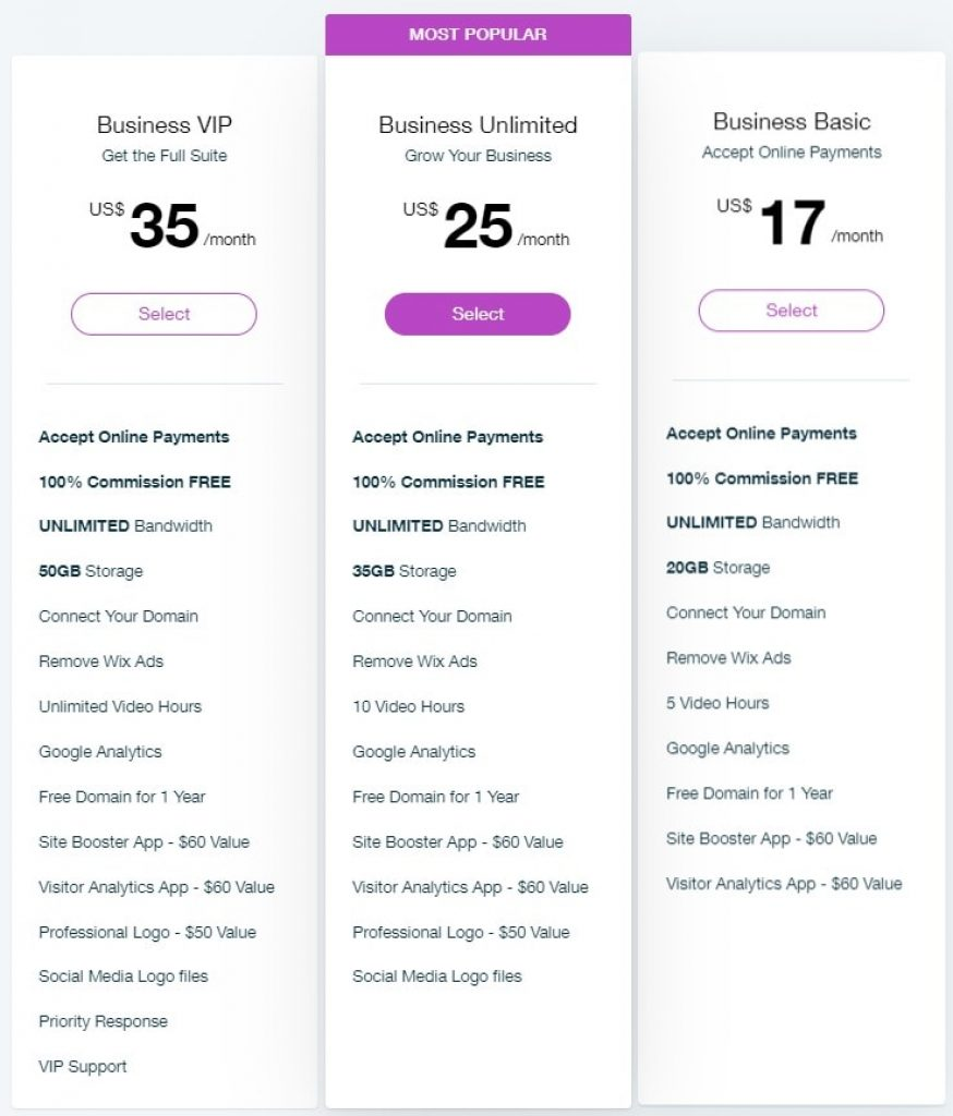wix business and ecommerce payment plans