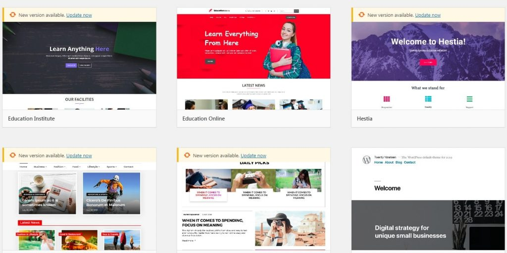 WordPress Sample Themes