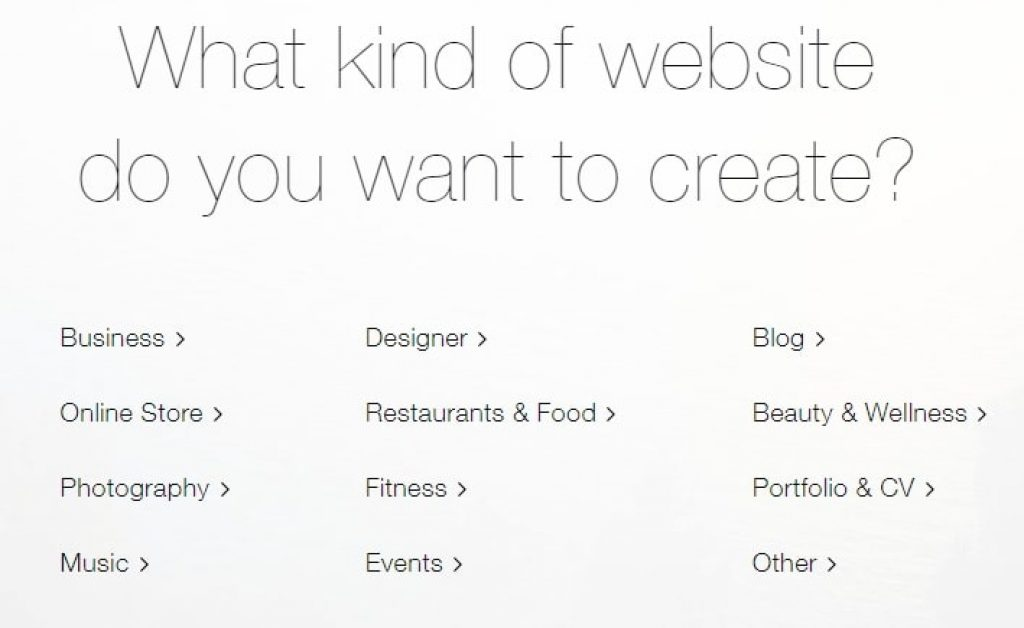 wix showing options to kind of website you want to create